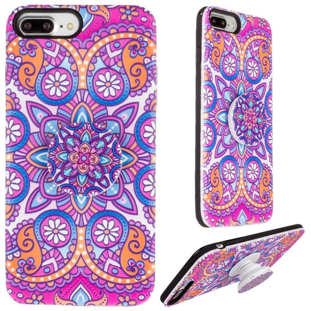 Iphone 6 Plus - Mandala Textured Hybrid Fashion Case with Built in Pop-out Finger Grip, Purple for Apple iPhone 6 Plus/iPhone 6s Plus/iPhone 7 Plus/iPhone 8 Plus