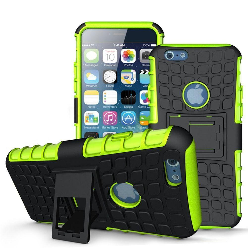 - Track Tire Design Rugged Hybrid Case with Kickstand, Green/Black for Apple iPhone 6 Plus/iPhone 6s Plus
