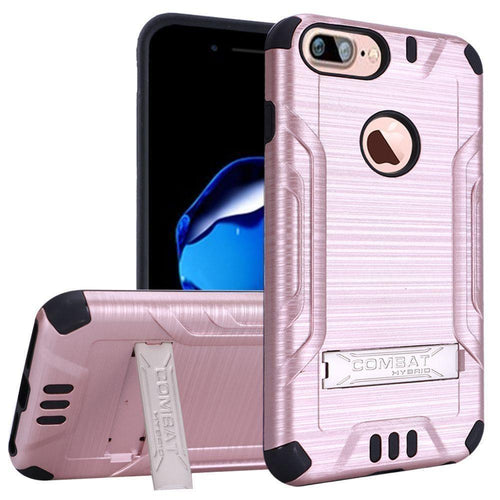 Apple Iphone 8 Plus - Brushed Metal Design Combat Hybrid Rugged Case with Stand, Rose Gold/Black for Apple iPhone 7 Plus/iPhone 8 Plus