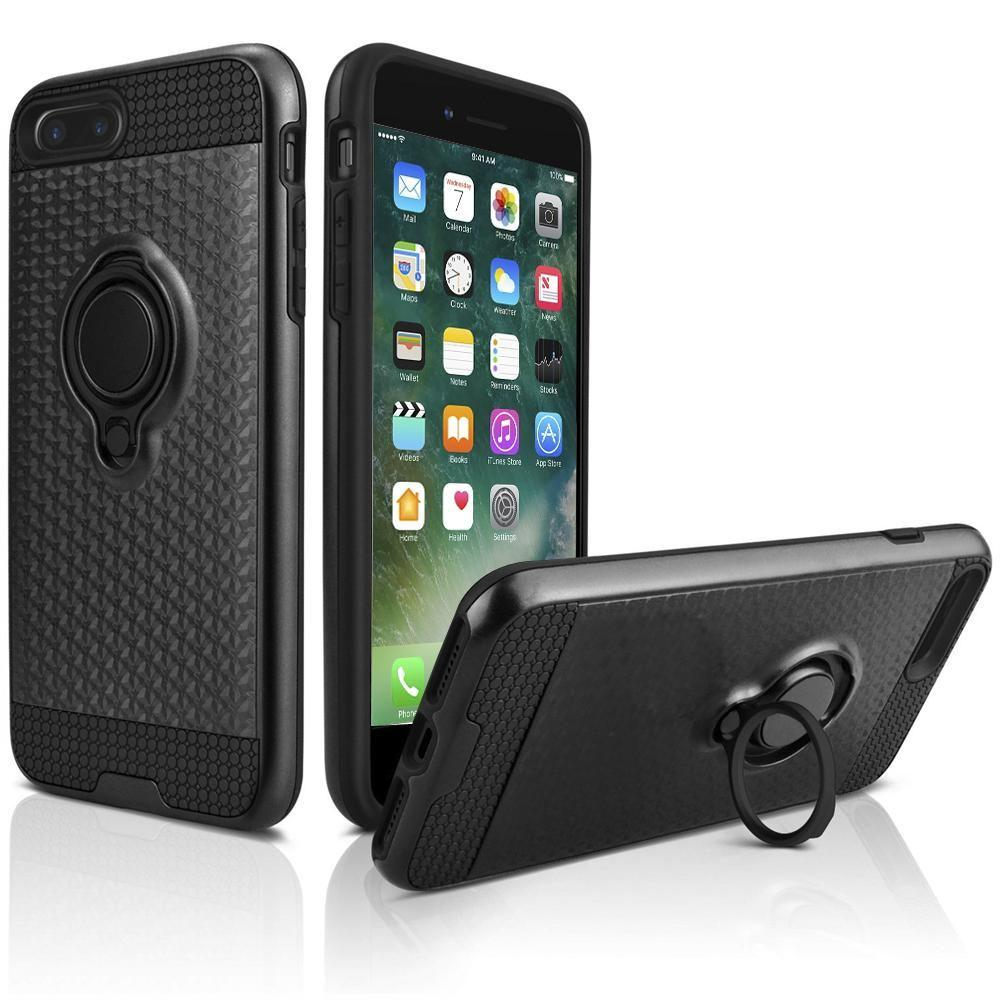 - Heavy-Duty Rugged Case with Hideaway Ring Holder Stand, Black for Apple iPhone 7 Plus/iPhone 8 Plus