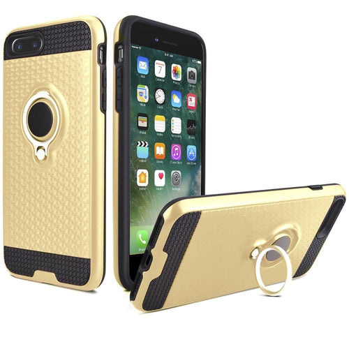 Apple Iphone 8 Plus - Heavy-Duty Rugged Case with Hideaway Ring Holder Stand, Gold/Black for Apple iPhone 7 Plus/iPhone 8 Plus