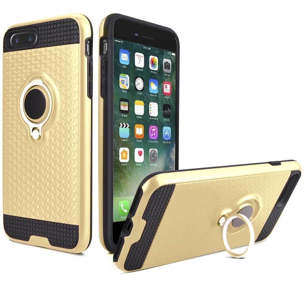 - Heavy-Duty Rugged Case with Hideaway Ring Holder Stand, Gold/Black for Apple iPhone 7 Plus/iPhone 8 Plus