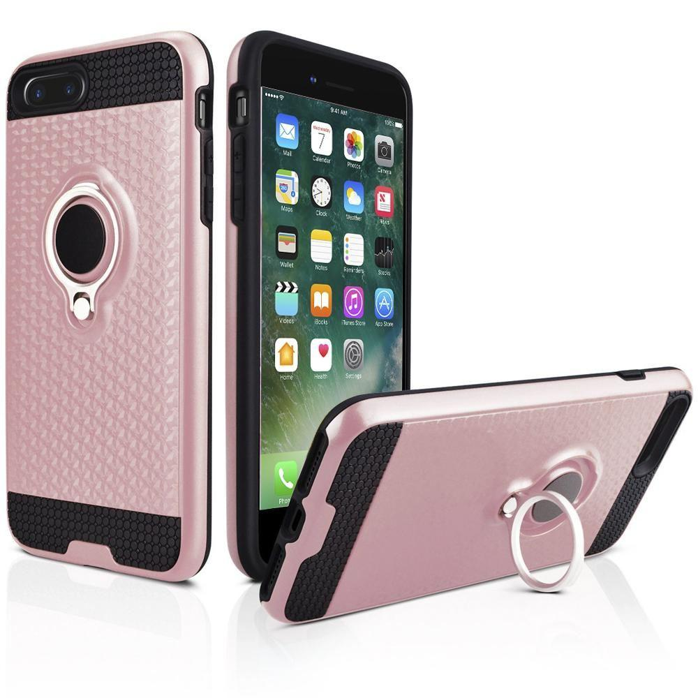 - Heavy-Duty Rugged Case with Hideaway Ring Holder Stand, Rose Gold/Black for Apple iPhone 7 Plus/iPhone 8 Plus