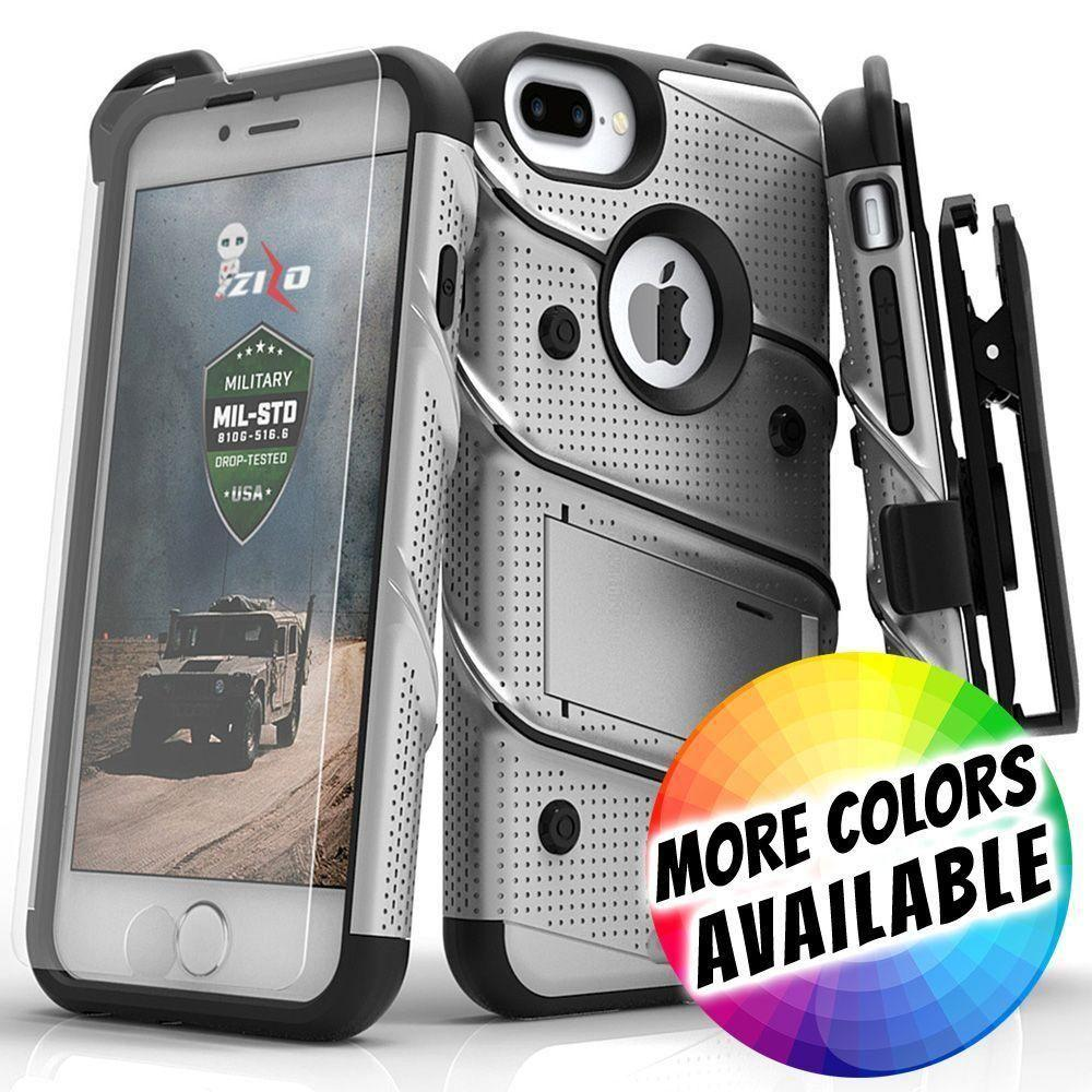 - Bolt Heavy-Duty Rugged Case, Holster and Screen Combo, Gray/Black for Apple iPhone 7 Plus/iPhone 8 Plus