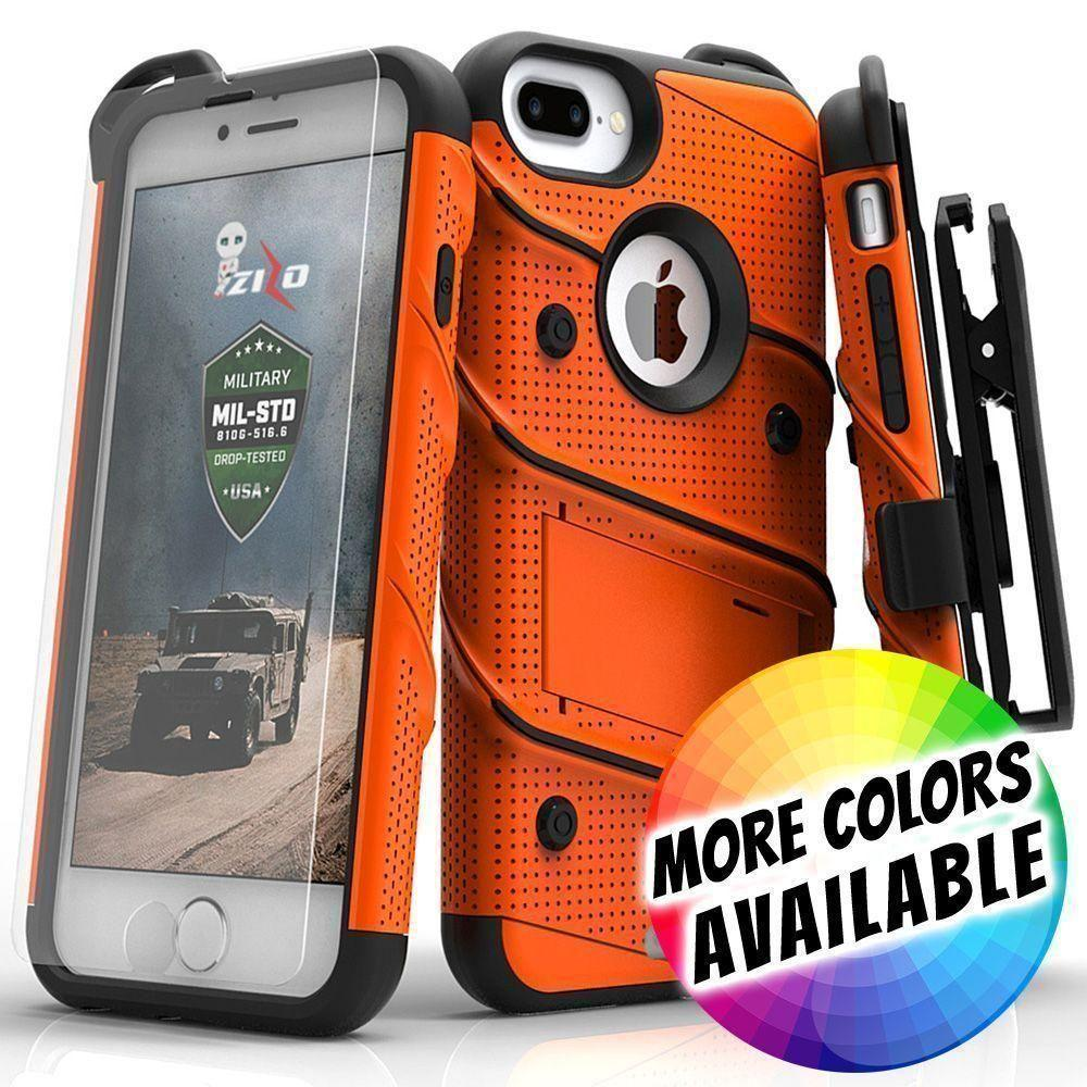 - Bolt Heavy-Duty Rugged Case, Holster and Screen Combo, Orange/Black for Apple iPhone 7 Plus/iPhone 8 Plus