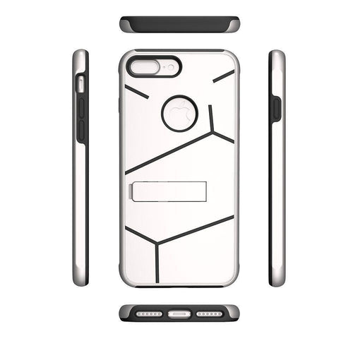 Apple Iphone 8 Plus - Helix Dual Layer Rugged Case with Stand, Silver/Black for Apple iPhone 7 Plus/iPhone 8 Plus