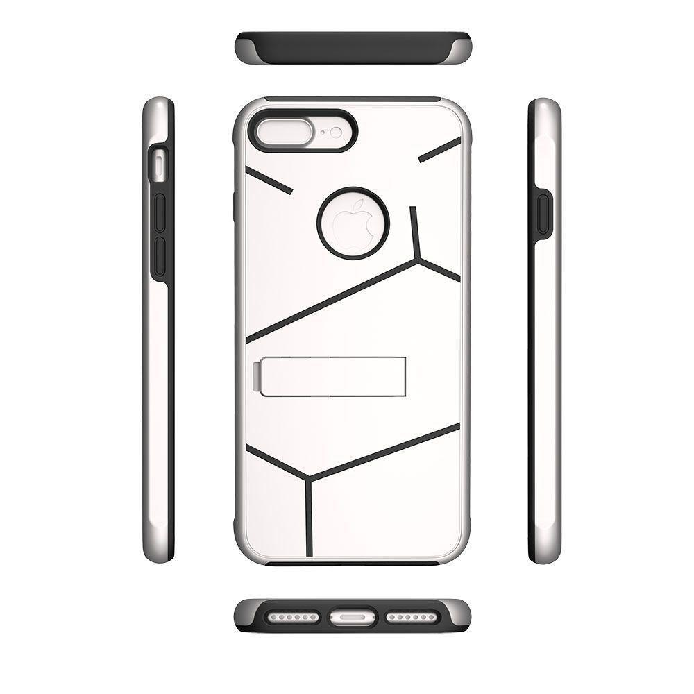 - Helix Dual Layer Rugged Case with Stand, Silver/Black for Apple iPhone 7 Plus/iPhone 8 Plus