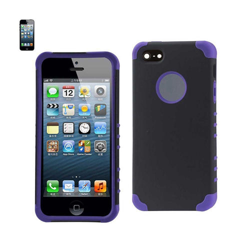 Apple Iphone 5 - Anti-Shock Hybrid Shield Rugged Case, Purple/Black for Apple iPhone 5/iPhone 5s/iPhone SE