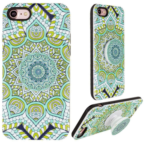 Apple Iphone 6 - Mandala Textured Hybrid Fashion Case with Built in Pop-out Finger Grip, Multi-Color for Apple iPhone 6/iPhone 6s
