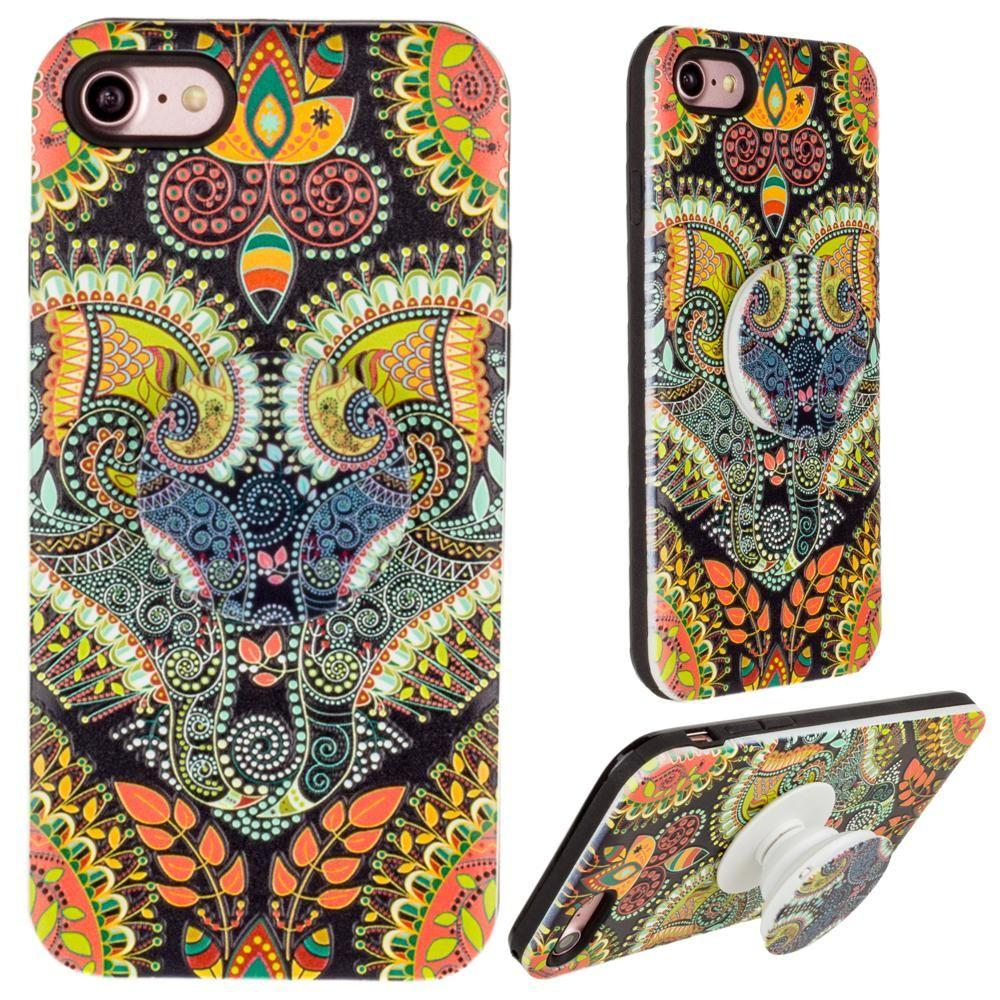 - Paisley Textured Hybrid Fashion Case with Built in Pop-out Finger Grip, Multi-Color for Apple iPhone 6/iPhone 6s