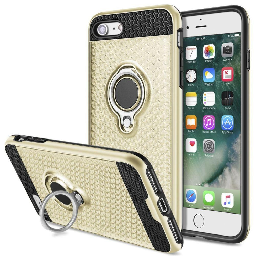 - Heavy-Duty Rugged Case with Hideaway Ring Holder Stand, Gold/Black for Apple iPhone 7/iPhone 8