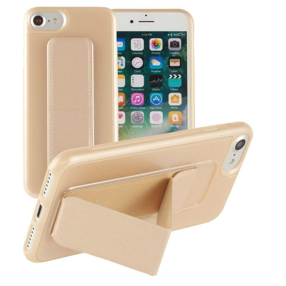 - Hard frosted slim case with built in kickstand, Gold for Apple iPhone 7/iPhone 8