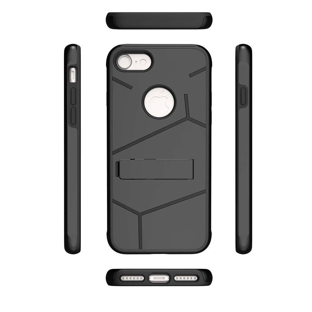 - Helix Dual Layer Rugged Case with Stand, Black for Apple iPhone 7/iPhone 8
