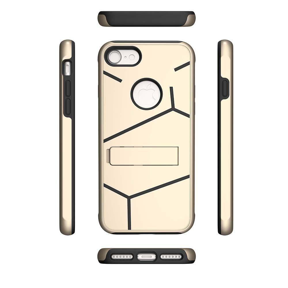 - Helix Dual Layer Rugged Case with Stand, Gold/Black for Apple iPhone 7/iPhone 8