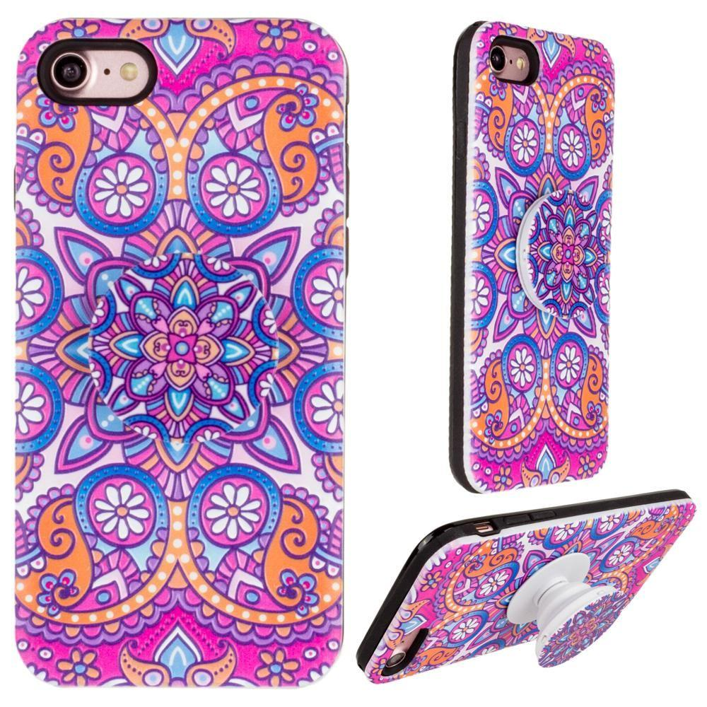 - Mandala Textured Hybrid Fashion Case with Built in Pop-out Finger Grip, Purple for Apple iPhone 7/iPhone 8