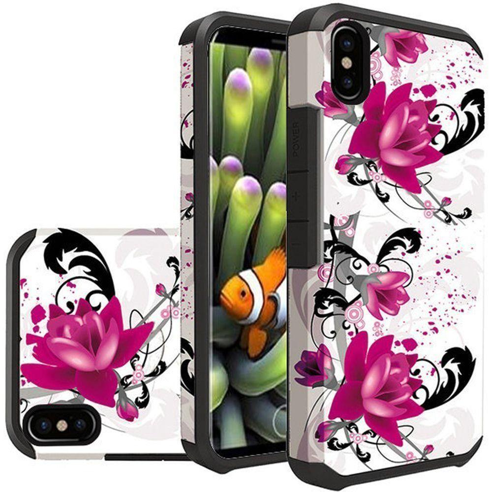 - Flowers and Vines Design Slim Hybrid Rugged Case, Multi-Color for Apple iPhone X