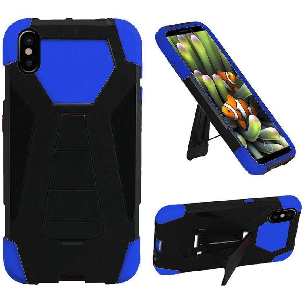 - Mighty Dual Layer Rugged Case with Kickstand, Black/Blue for Apple iPhone X