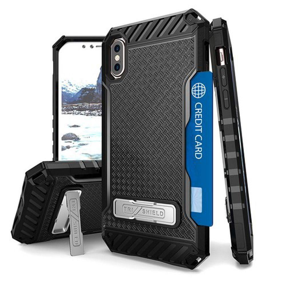 - Tri Shield Rugged Kombo Case with Kickstand and Card Holder, Black for Apple iPhone X