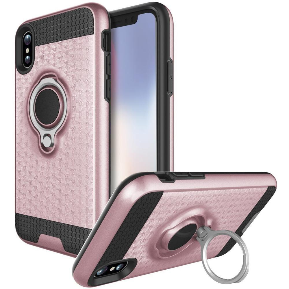 - Heavy-Duty Rugged Case with Hideaway Ring Holder Stand, Rose Gold/Black for Apple iPhone X