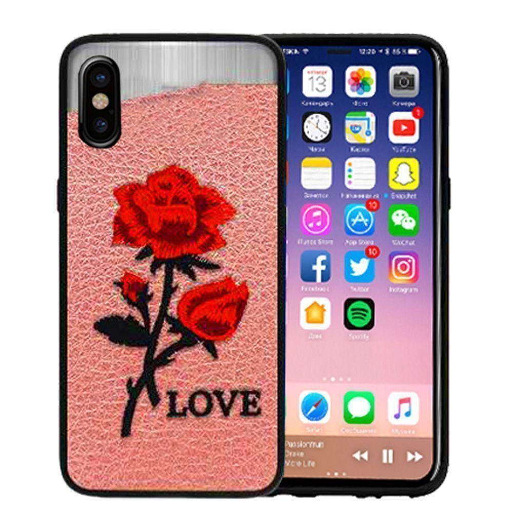 - Rose Embroidered Slim Fashion Case, Pink/Red for Apple iPhone X