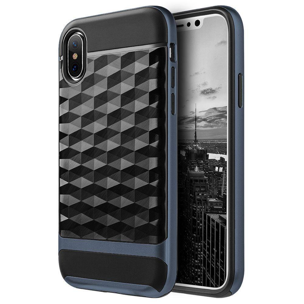- Geometric Textured Hybrid Rugged Case, Black/Navy Blue for Apple iPhone X