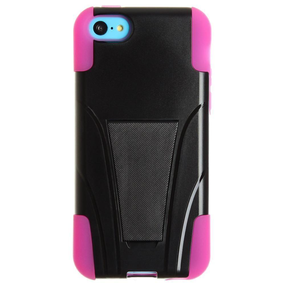- Dual Layer Rugged Case, Black/Hot Pink for Apple iPhone 5C