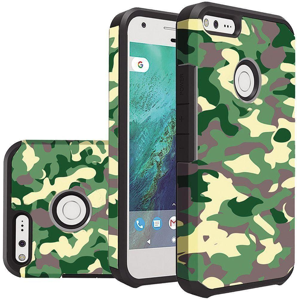 - Camouflage Design Slim Hybrid Rugged Case, Green