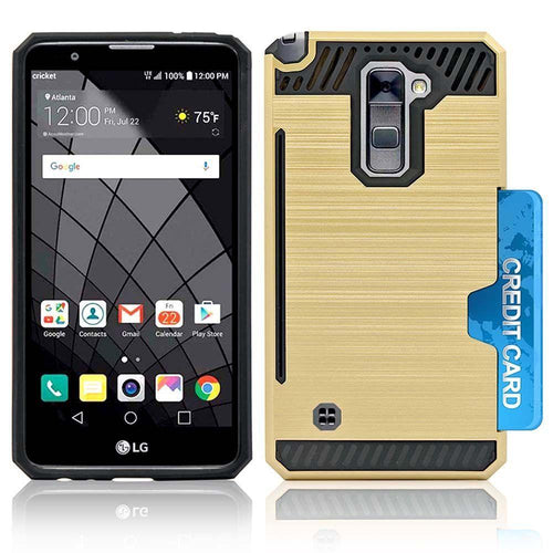 Lg Stylo 2 - Credit Card Pocket Rugged Case, Gold/Black