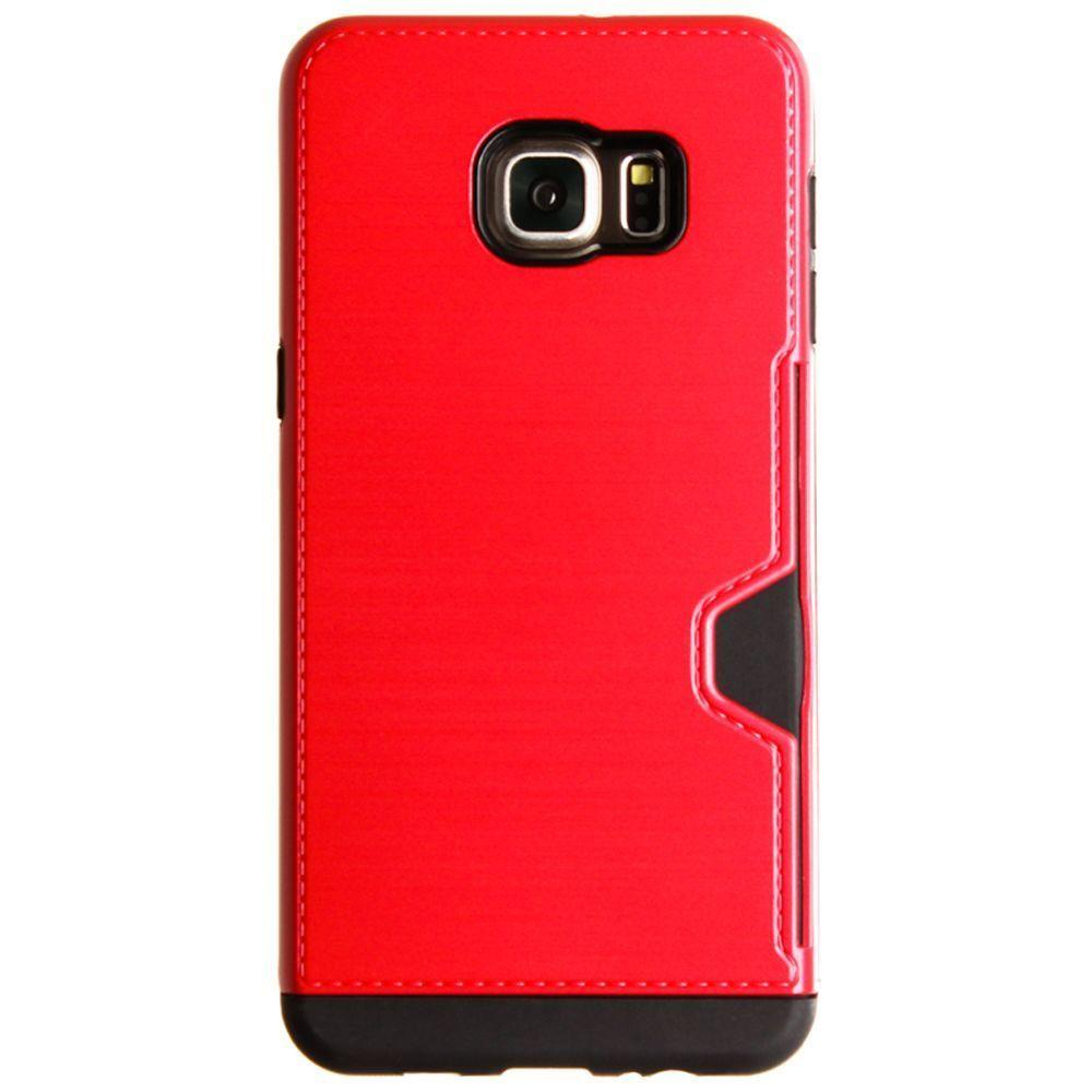 - Brushed Metal Design Rugged Case with Card Holder, Red for Samsung Galaxy S6 Edge Plus