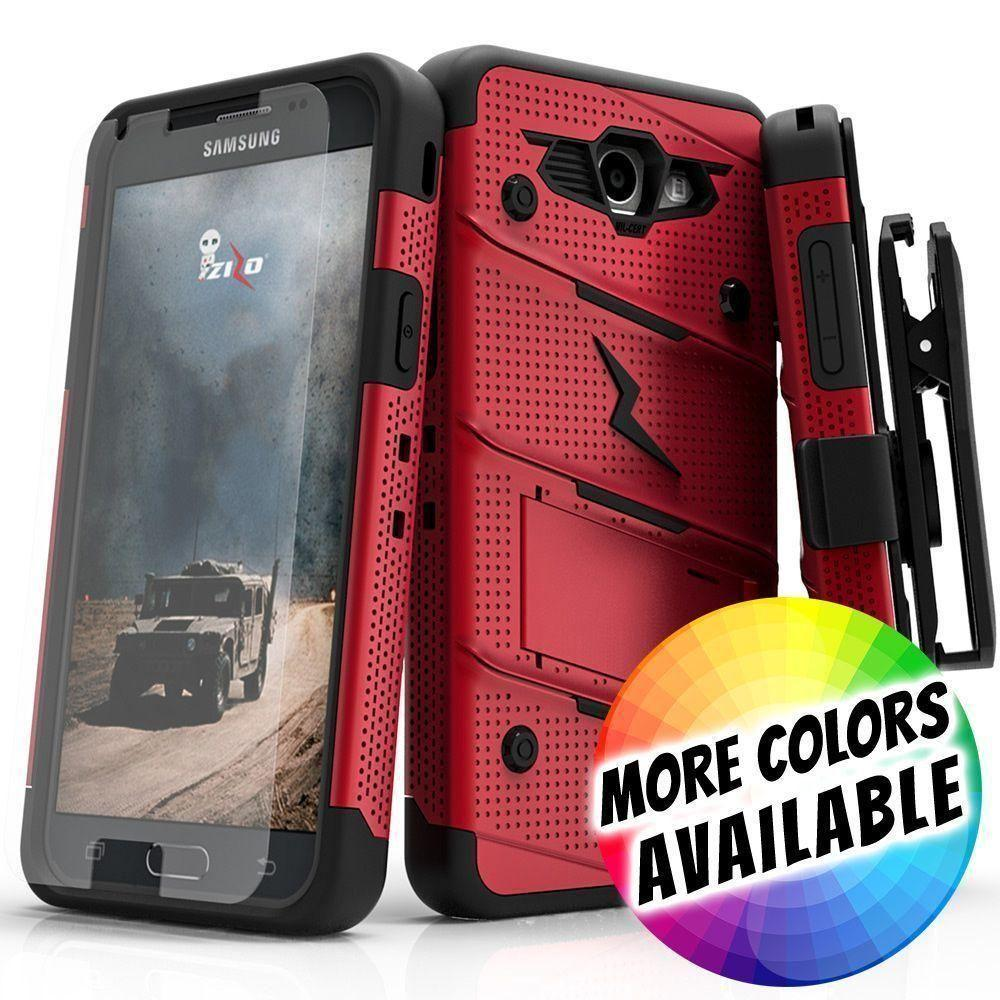 - Bolt Heavy-Duty Rugged Case, Holster and Screen Combo, Red/Black