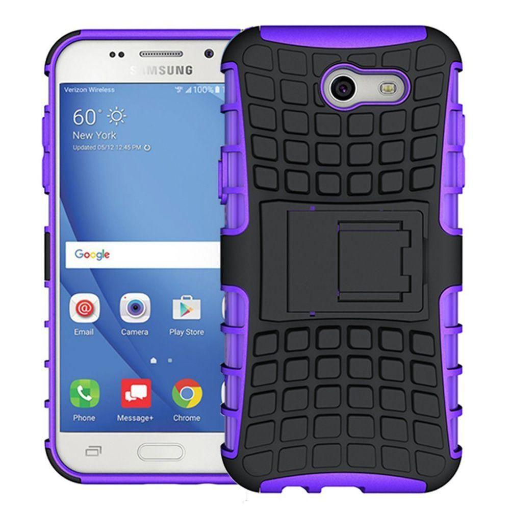- Track Tire Design Rugged Hybrid Case with Kickstand, Purple/Purple