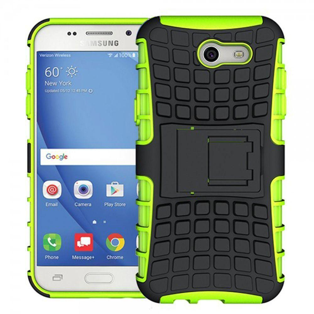 - Track Tire Design Rugged Hybrid Case with Kickstand, Neon Green/Black