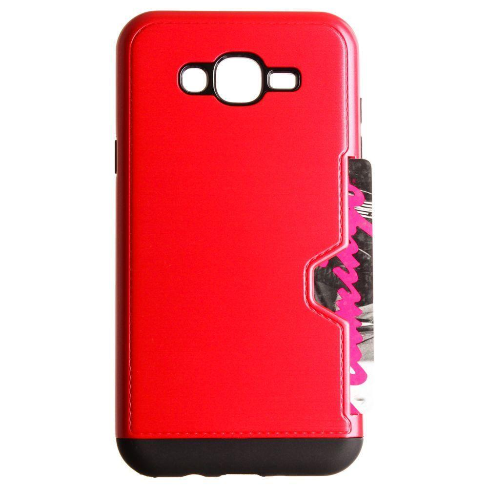 - Brushed Metal Design Rugged Case with Card Holder, Red