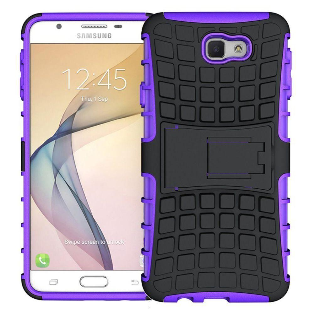 - Track Tire Design Rugged Hybrid Case with Kickstand, Purple/Black