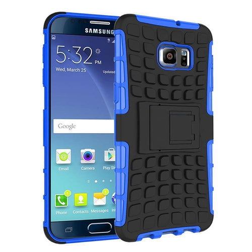Samsung Galaxy Note 5 - Track Tire Design Rugged Hybrid Case with Kickstand, Blue/Black for Samsung Galaxy Note 5