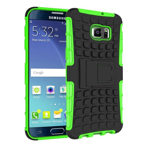 Samsung Galaxy Note 5 - Track Tire Design Rugged Hybrid Case with Kickstand, Neon Green/Black for Samsung Galaxy Note 5