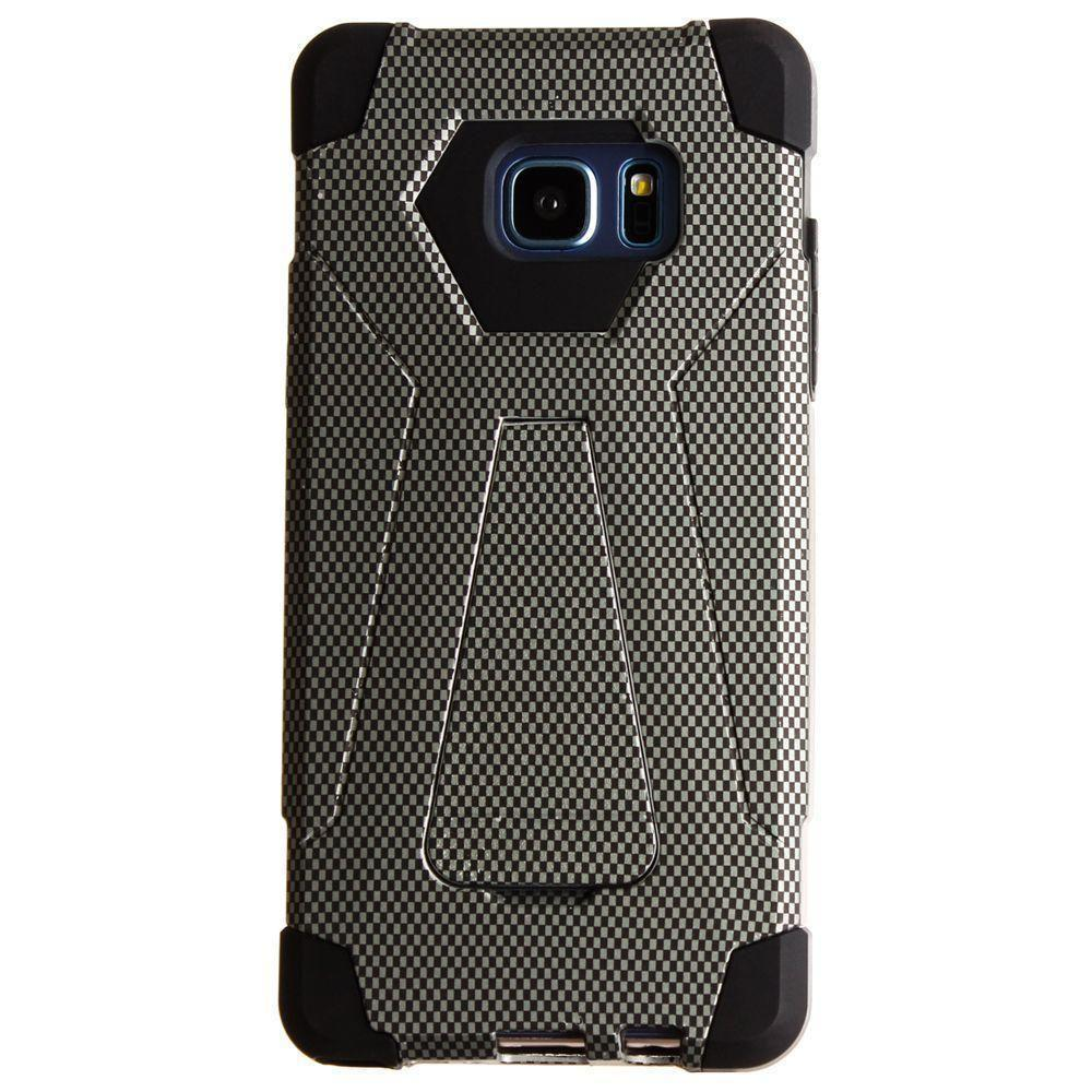 - Carbon Fiber Print Mighty Dual Layer Rugged Case, Black