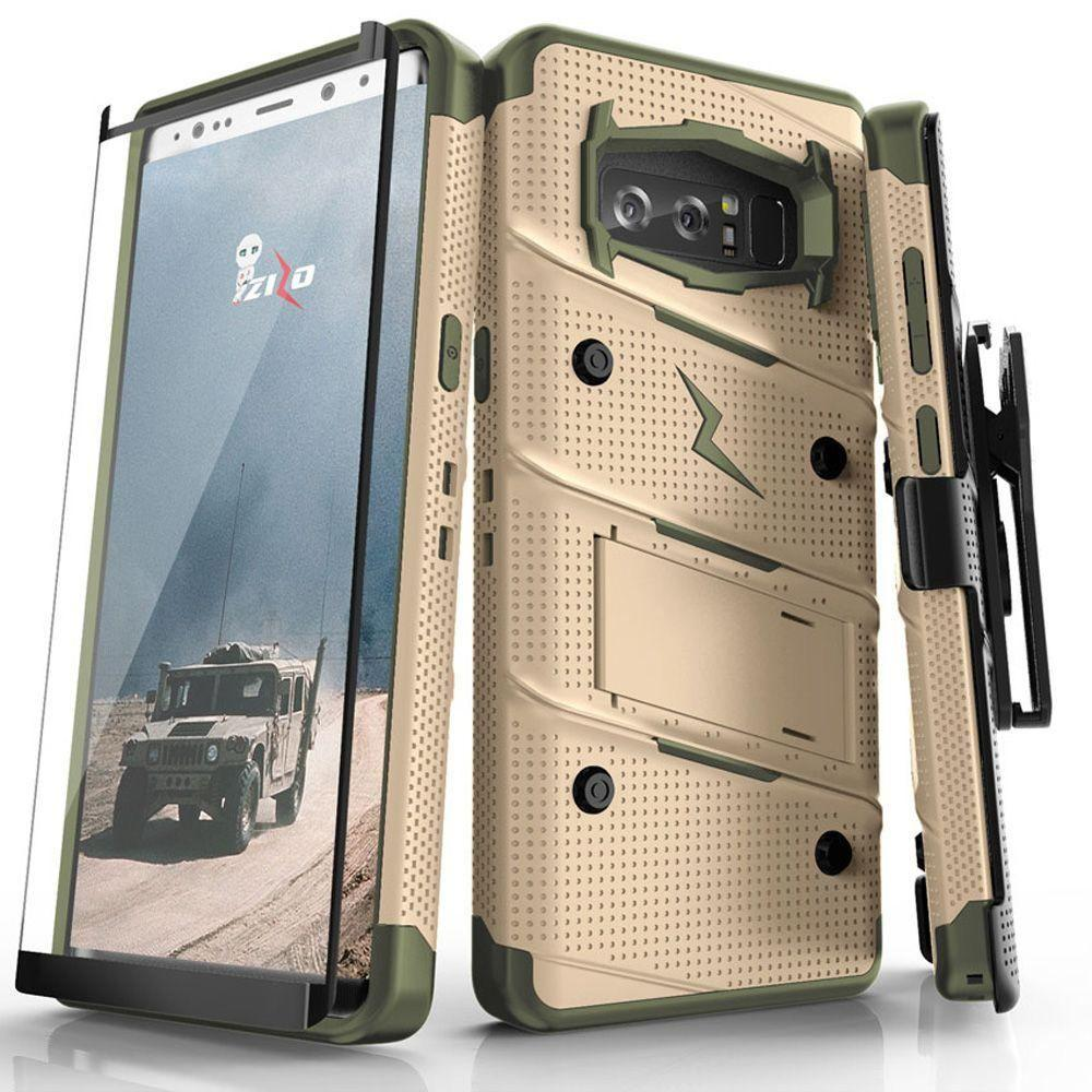 - Bolt Heavy-Duty Rugged Case, Holster and Screen Combo, Desert Tan/Green for Samsung Galaxy Note 8