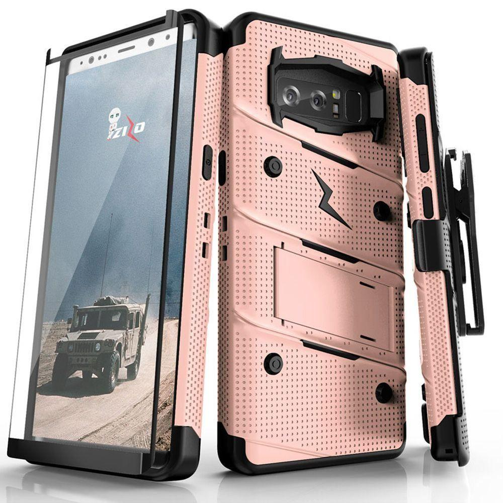 - Bolt Heavy-Duty Rugged Case, Holster and Screen Combo, Rose Gold/Black for Samsung Galaxy Note 8