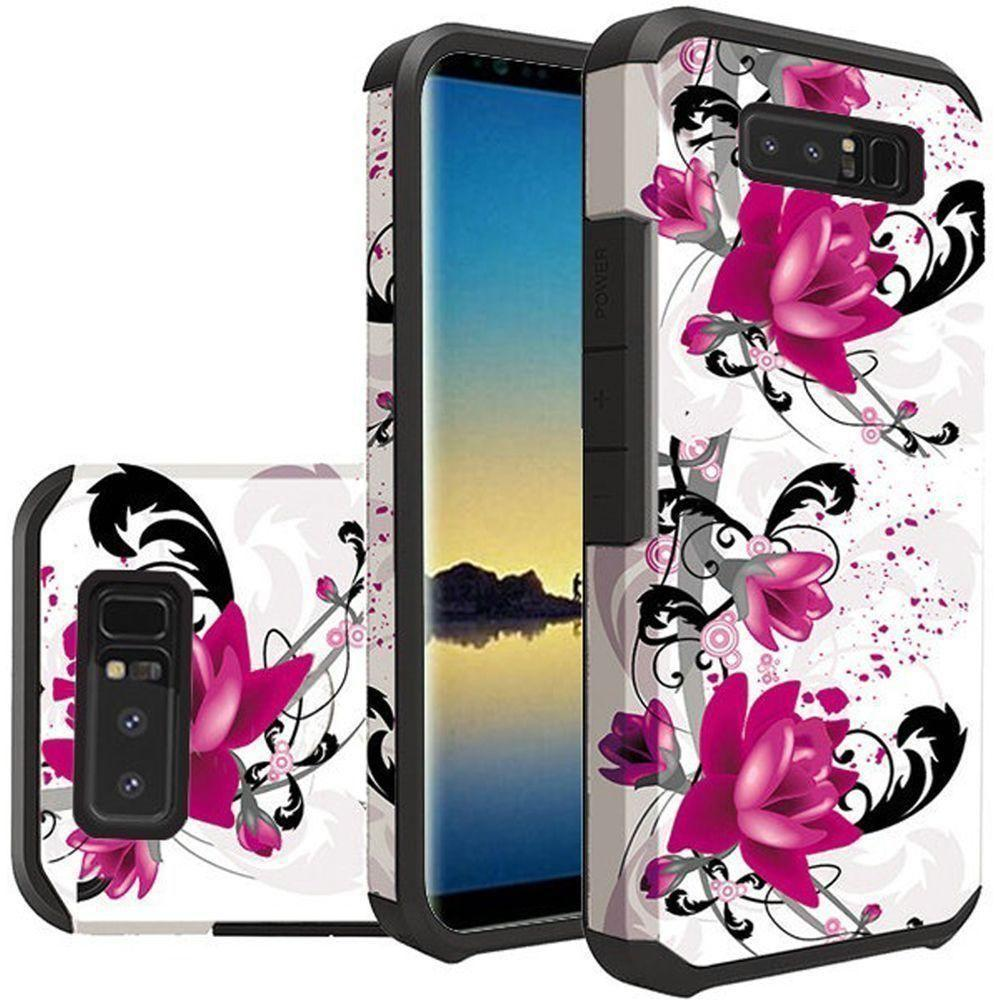 - Flowers and Vines Design Slim Hybrid Rugged Case, Multi-Color for Samsung Galaxy Note 8
