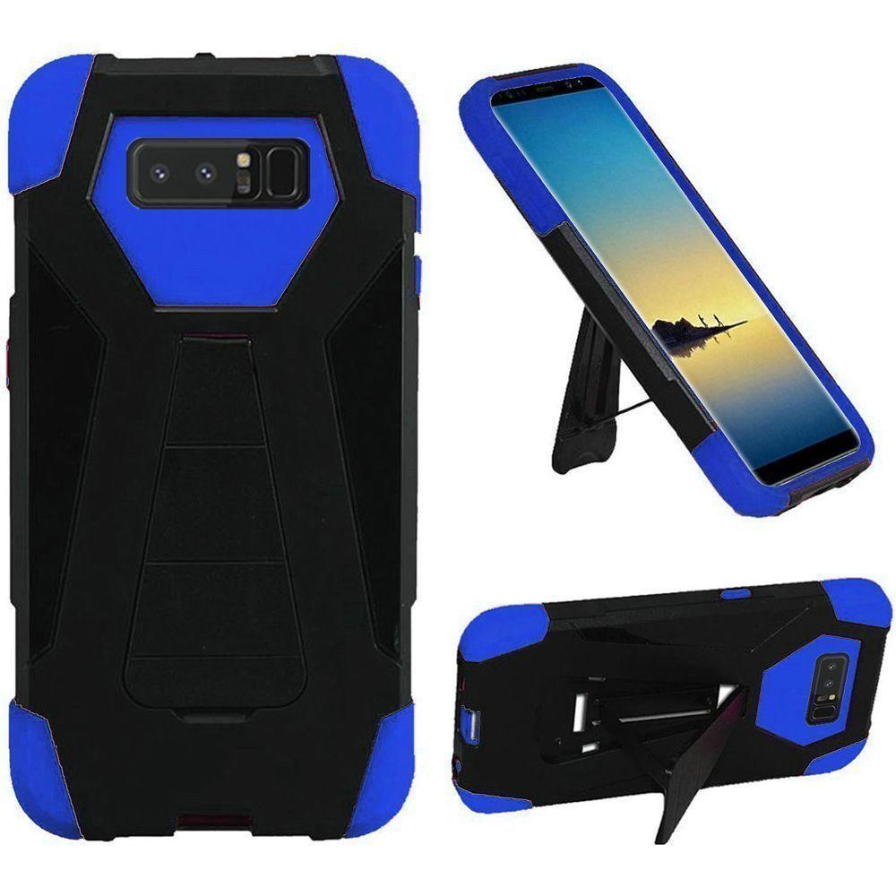 - Mighty Dual Layer Rugged Case with Kickstand, Black/Blue for Samsung Galaxy Note 8