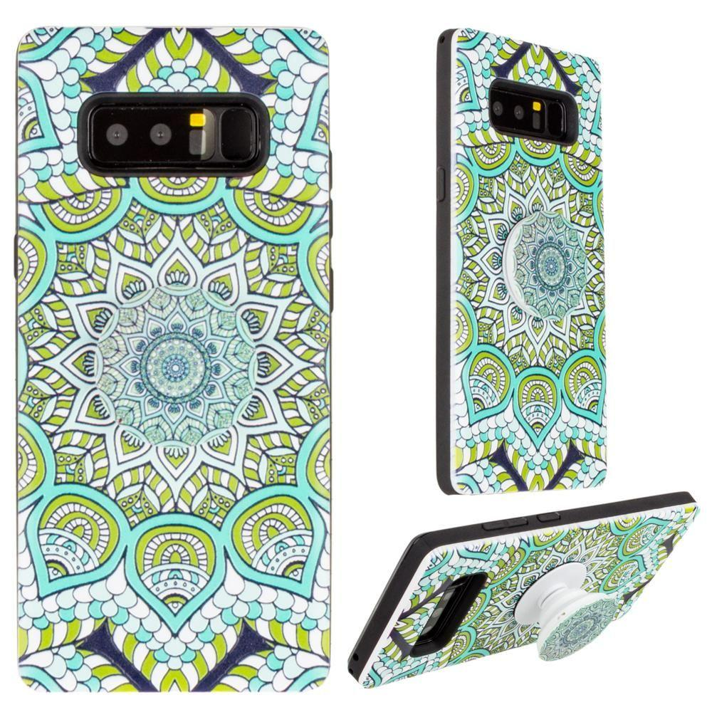 - Mandala Textured Hybrid Fashion Case with Built in Pop-out Finger Grip, Multi-Color for Samsung Galaxy Note 8