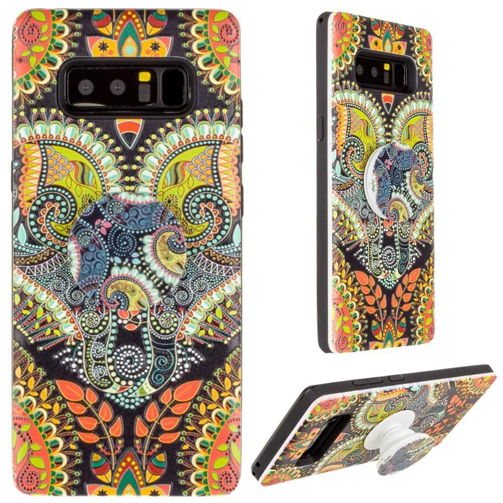 - Paisley Textured Hybrid Fashion Case with Built in Pop-out Finger Grip, Multi-Color for Samsung Galaxy Note 8
