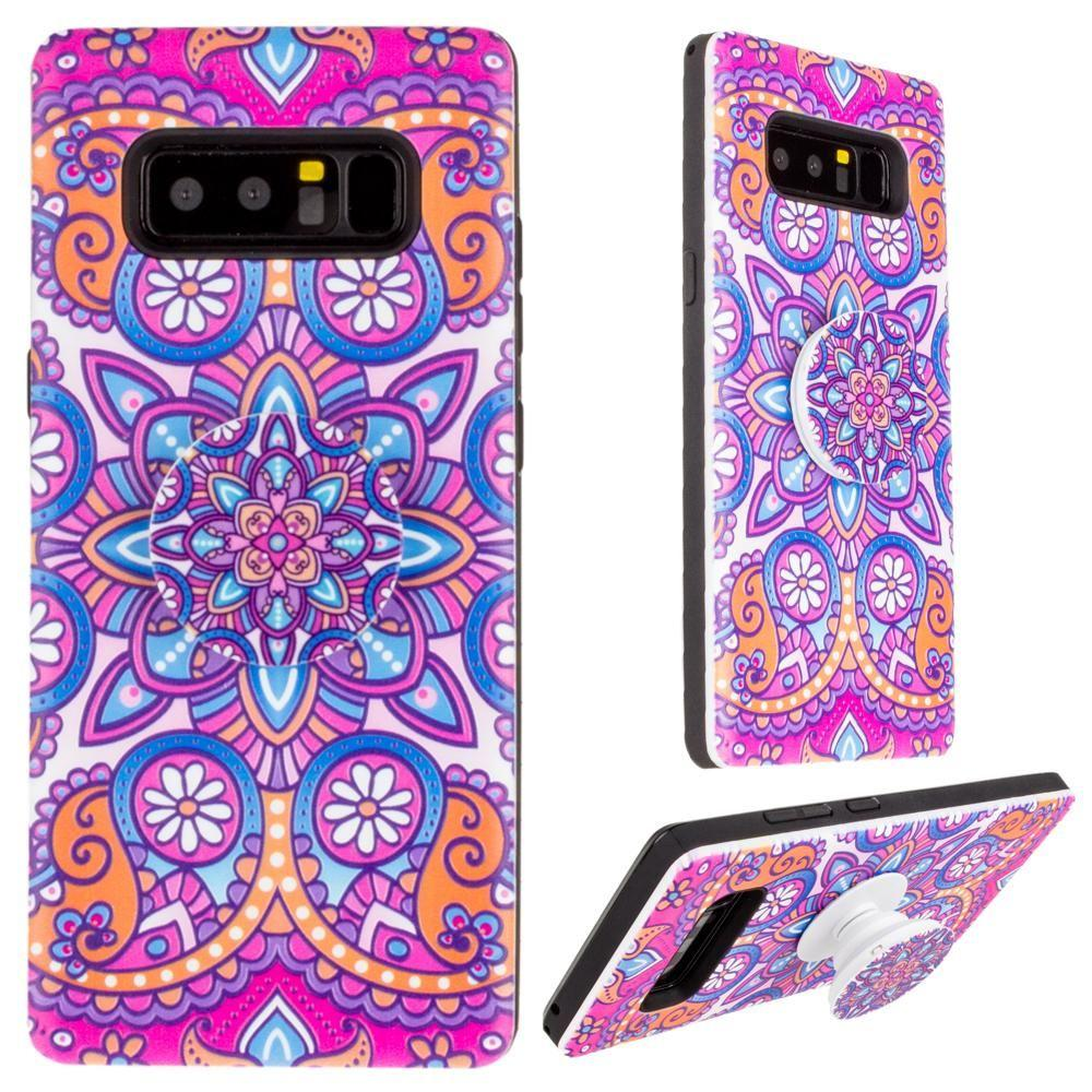 - Mandala Textured Hybrid Fashion Case with Built in Pop-out Finger Grip, Purple for Samsung Galaxy Note 8