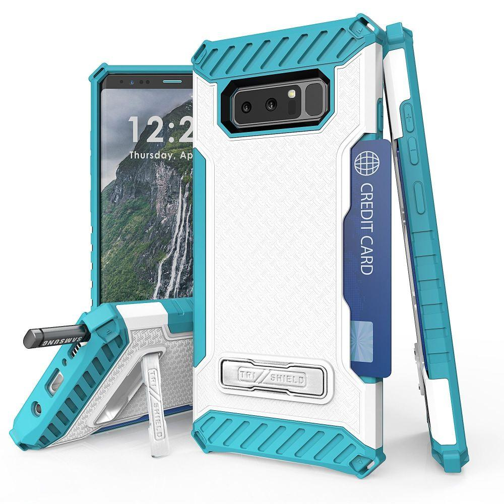 - Tri Shield Rugged Kombo Case with Kickstand and Card Holder, White/Blue for Samsung Galaxy Note 8