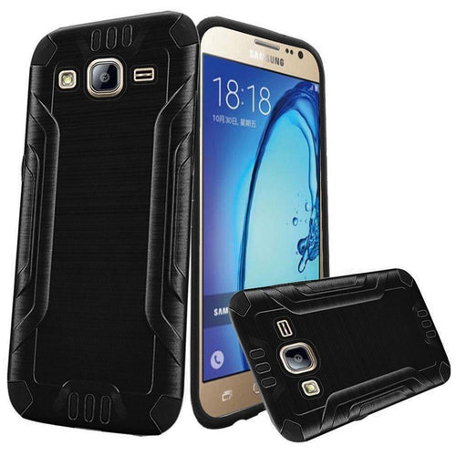 Samsung Galaxy On5 - Brushed Metal Design Combat Hybrid Rugged Case, Black