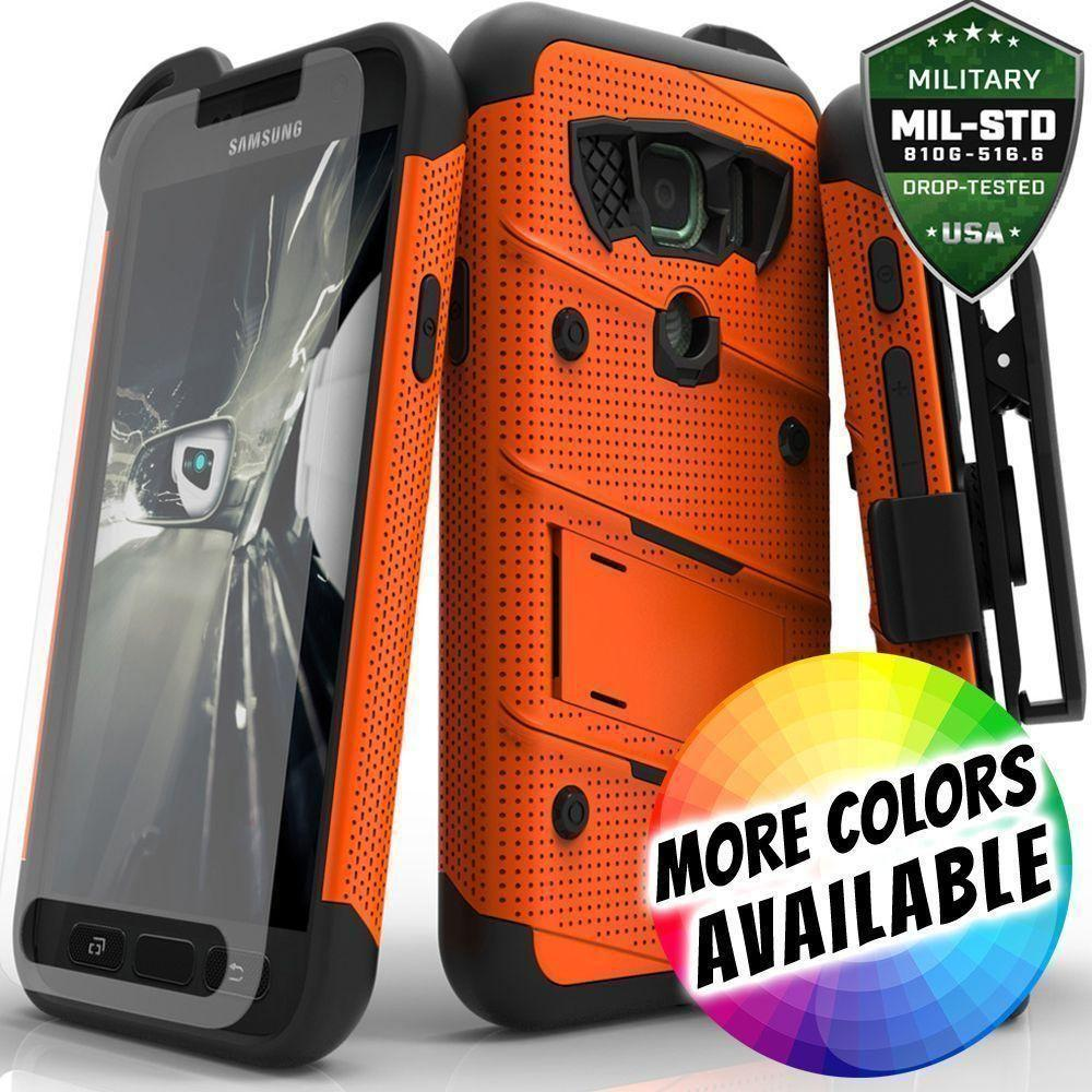 - Bolt Heavy-Duty Rugged Case, Holster and Screen Combo, Orange/Black
