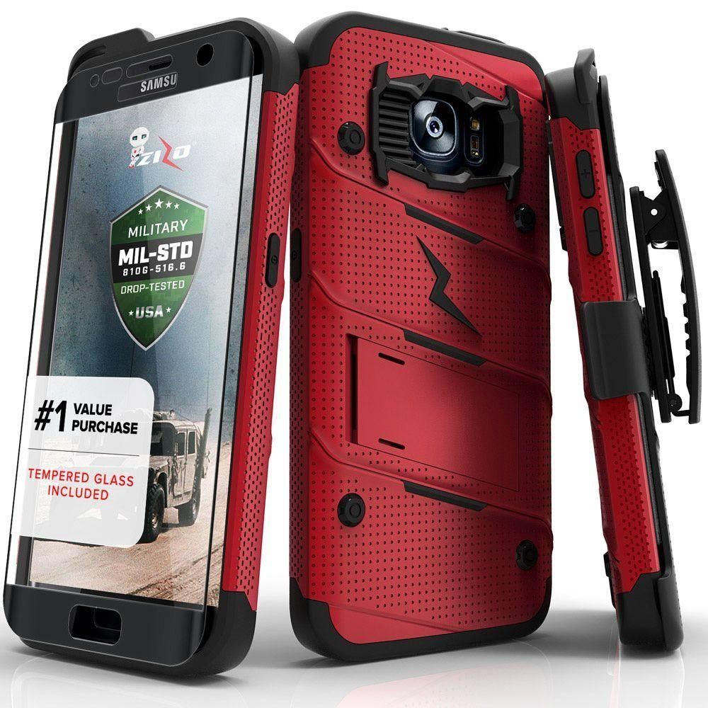 - Bolt Heavy-Duty Rugged Case, Holster and Screen Combo, Red/Black for Samsung Galaxy S7 Edge