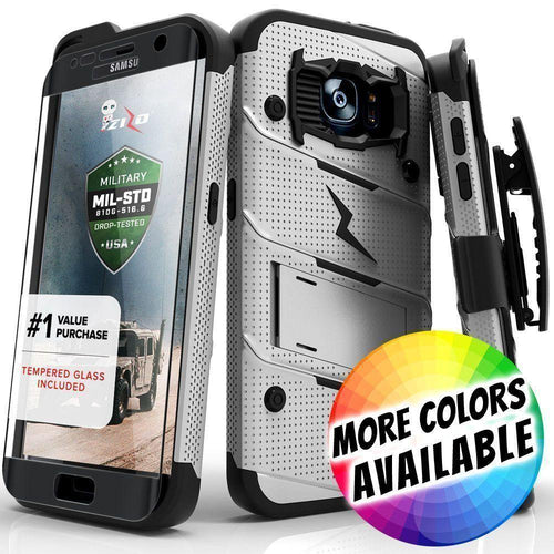 Samsung Galaxy S7 Edge - Bolt Heavy-Duty Rugged Case, Holster and Screen Combo, Gray/Black for Samsung Galaxy S7 Edge