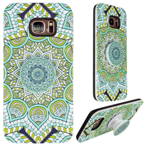 Samsung Galaxy S7 Edge - Mandala Textured Hybrid Fashion Case with Built in Pop-out Finger Grip, Multi-Color for Samsung Galaxy S7 Edge
